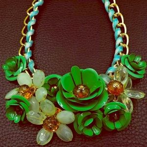NWT💚Betsey Johnson Flower Crystal Choker Necklace